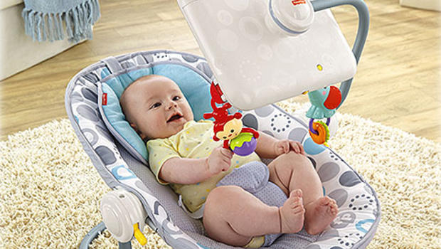 Fisher Price baby bouncy seat with iPad attachment subject of