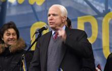 Senators John McCain and Chris Murphy address Ukraine protesters