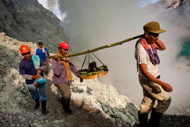 Volcanic sacrifice at sulfur mine