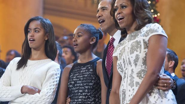 President Obama  First Lady Obama Daughters 2014