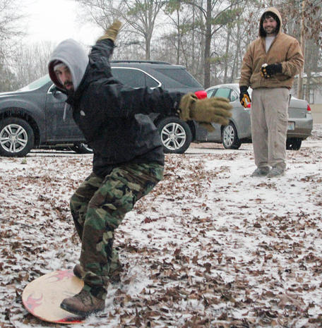 Snow storm startles South