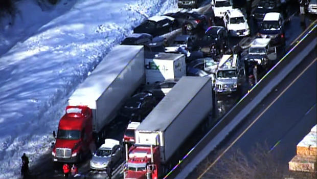 A massive pileup is seen on the Pennsylvania Turnpike in this aerial view Feb. 14, 2014.