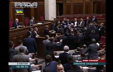 Ukrainian parliament breaks out in brawl