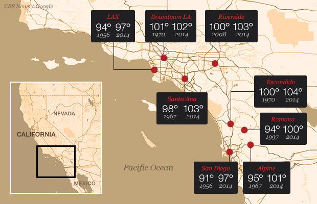 南加州创纪录的气温