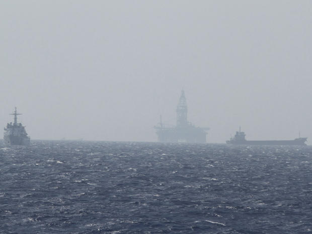 A Chinese oil rig Haiyang Shi You 981(C) is seen in the South China Sea, about 130 miles off shore of Vietnam