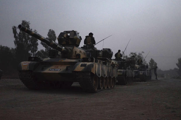 A photo provided by the Pakistani army shows mechanized units in formation in advance of a ground operation near Miranshah, North Wazirastan