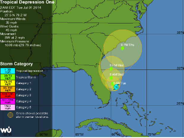 Tropical depression off Florida on July 1, 2014 was expected to grow quickly into Atlantic hurricane season's first named storm