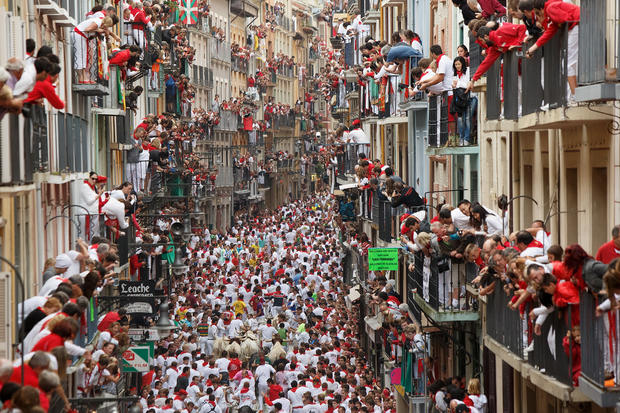 Running of the bulls in Pamplona
