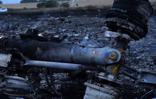 The wreckage of Malaysia Airlines Flight 17 is seen in Ukraine July 17, 2014.