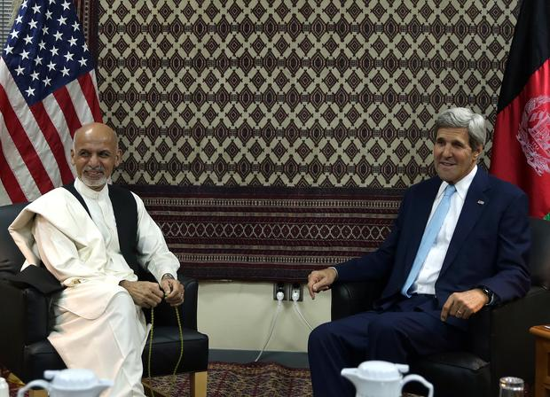 Secretary of State John Kerry meets with Afghan presidential candidate Ashraf Ghani Ahmadzai at the U.S. Embassy in Kabul