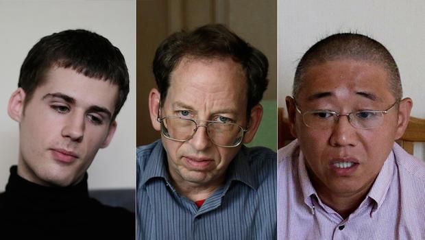 三名美国人在朝鲜被拘留,左起:Matthew Miller,Jeffrey Fowle和Kenneth Bae,与外界媒体进行了交谈2014年9月1日