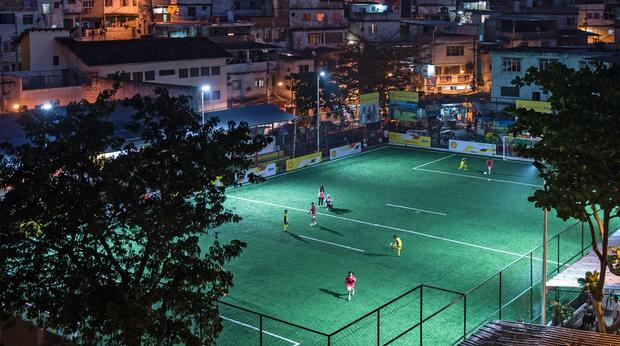 Players' kinetic energy keeps the lights on at Brazil soccer field