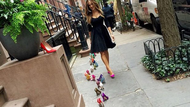 Sarah looked happy to be showing off her SJP Collection shoe range