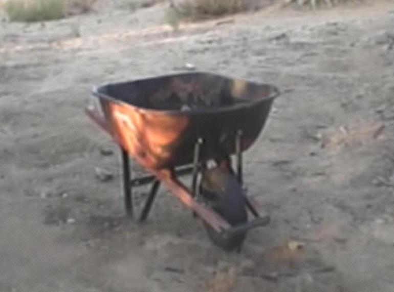 The wheelbarrow where Becky Friedlis body was found