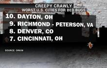 10 cities with the most bedbugs