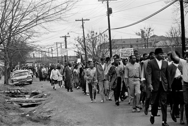 Snaking line of Selma to Montgomery civil rights marchers forming on ...