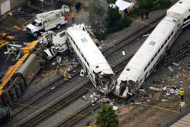 train crash A miami-bound amtrak train appeared to be on the wrong track when it collided  with a freight train in south carolina early sunday, killing two.