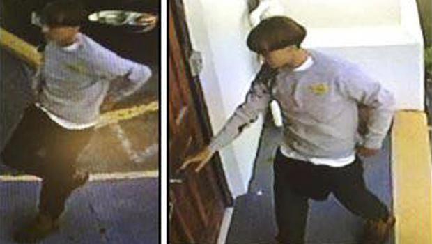 查尔斯顿警察局于2015年6月18日发布的一张海报中,一名嫌疑人在南卡罗来纳州查尔斯顿的一个教堂内搜查几名警察正在寻找嫌疑人。