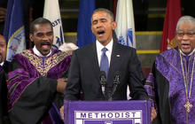 "Obama sings ""Amazing Grace"""
