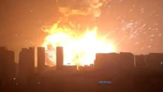 A massive explosion is seen in Tianjin, China, Aug. 13, 2015, in this still image from a video taken by Zheng Yuan.