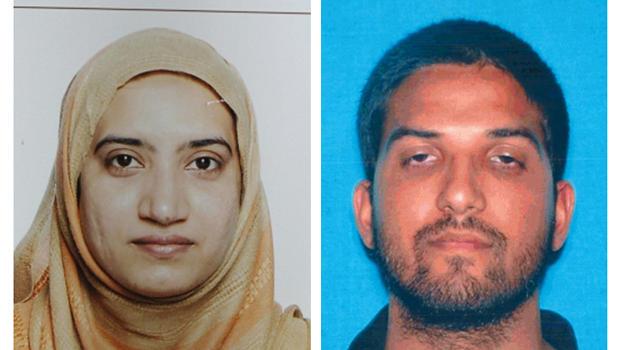 美国联邦调查局(FBI)和加州汽车部门提供的这张未注明日期的照片组合显示,左边是Tashfeen Malik,另外还有Syed Rizwan Farook。