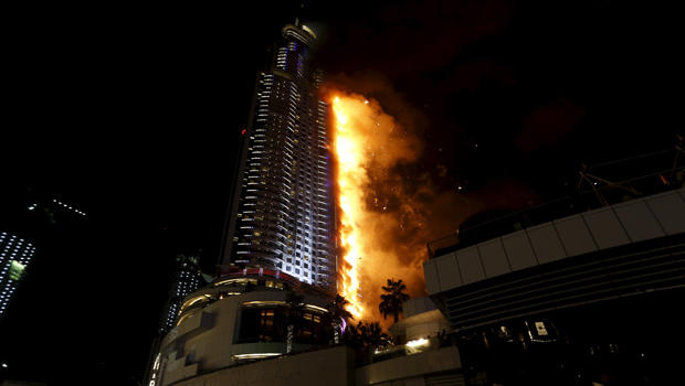 A fire engulfs The Address Hotel in downtown Dubai in the United Arab Emirates Dec. 31, 2015.