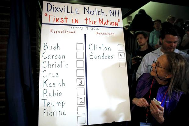 Results of the nine votes cast shortly after midnight in Dixville Notch, New Hampshire are displayed on February 9, 2016