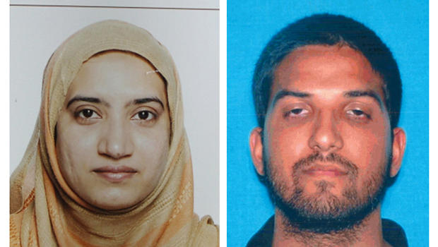 Undated combination of photos provided by FBI, left, and California Department of Motor Vehicles shows Tashfeen Malik, left, and Syed Farook, identified by authorities as the San Bernardino shooters