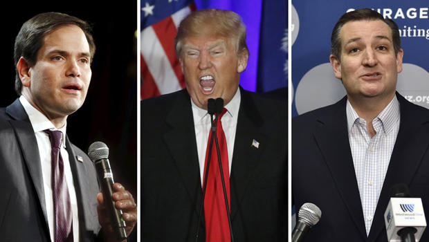 A combination photo shows Republican presidential candidates Marco Rubio in North Las Vegas, Nevada, on Feb. 21, 2016, Donald Trump in Spartanburg, South Carolina, on Feb. 20, 2016, and Ted Cruz in Las Vegas, Nevada, on Feb. 22, 2016.