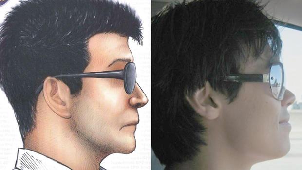 西雅图警方释放的嫌疑人素描,左,和丁鲍曼,对