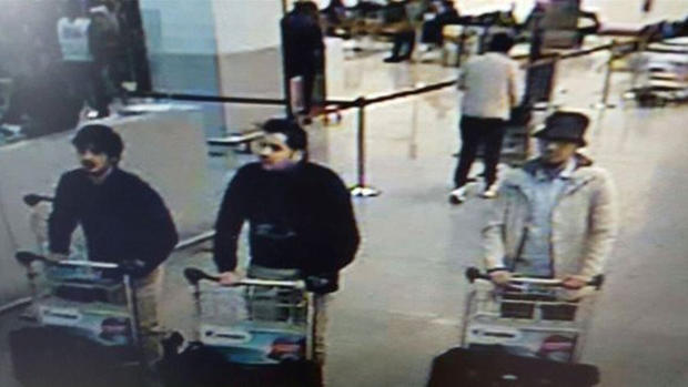 3 suspects in attacks at Belgium's Zaventem Airport are seen in still from surveillance video