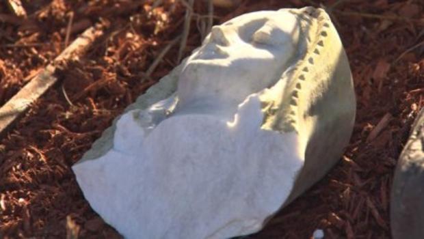 virgin mary statue beheaded  vandals  catholic church  vermont cbs news