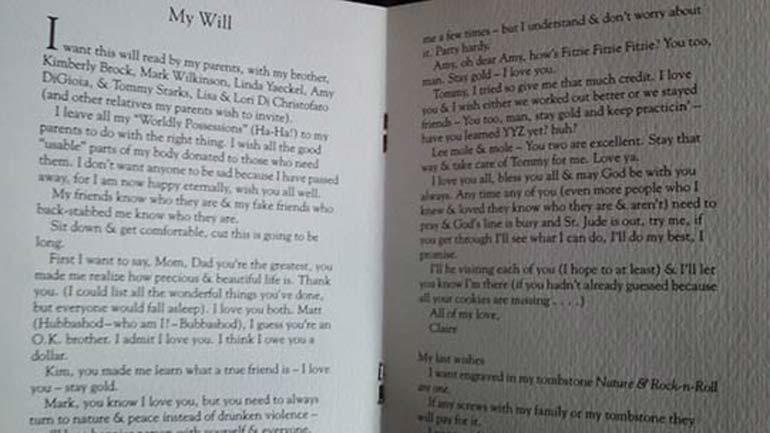 Claire Hough's will written as a teen