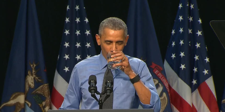 President Obama drinks Flint water and promises help