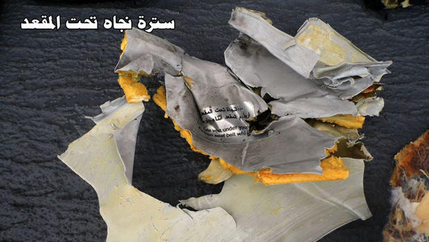 Debris recovered from a hunt for EgyptAir Flight 804 is seen in this print posted to an Egyptian troops Facebook page May 21, 2016.