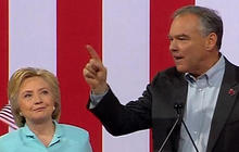 How was Tim Kaine received at first rally?