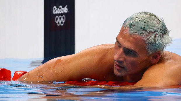 Ryan Lochte of USA reacts after the men's 200m individual medley final at Olympic Aquatics Stadium in Rio de Janeiro, Brazil, Aug. 11, 2016.