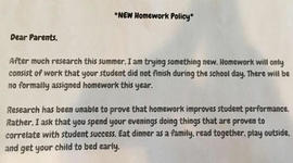 Teacher's unique homework policy goes viral