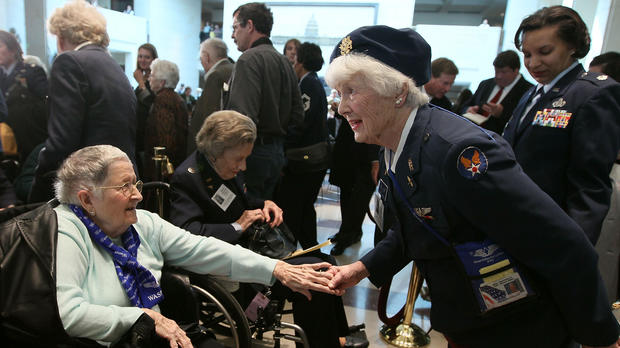 WASP pilot Elaine Danforth Harmon, right, greets guests during a ...