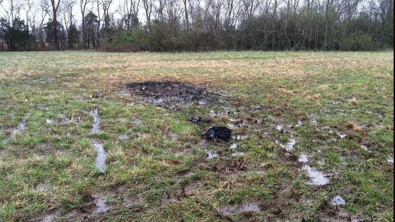 The spot where Shelley Mooks; burned car was found
