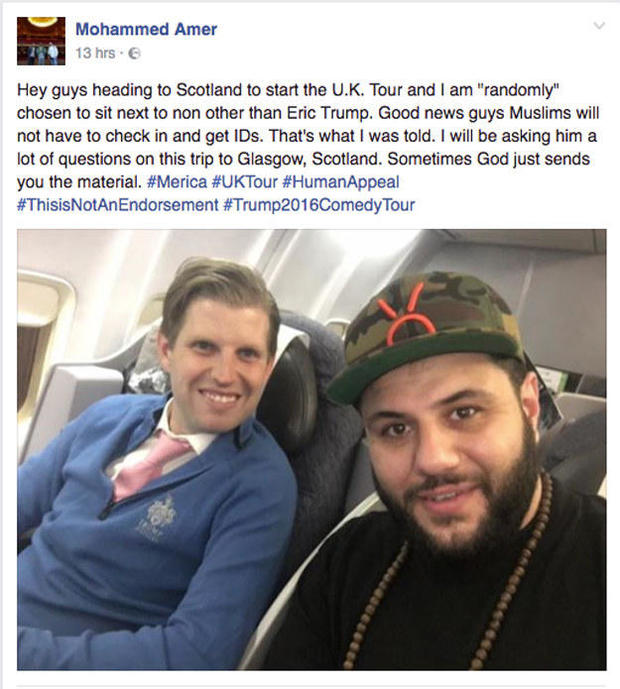 Image result for A Muslim Comedian Sat Next To Eric Trump On A Flight