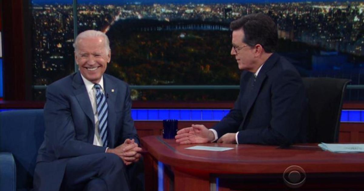 Late Show host Stephen Colbert talks with VP Biden in ...