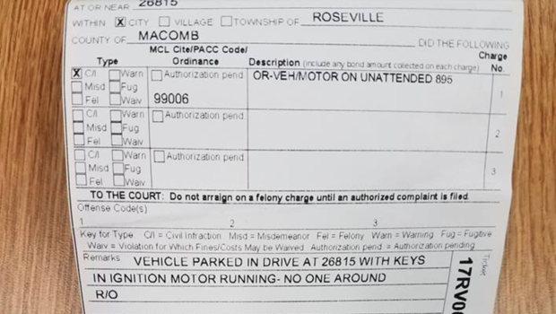 MI  man ticketed $128 for leaving auto  running in driveway