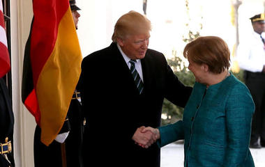 Trump stands by wiretap claims during Merkel visit