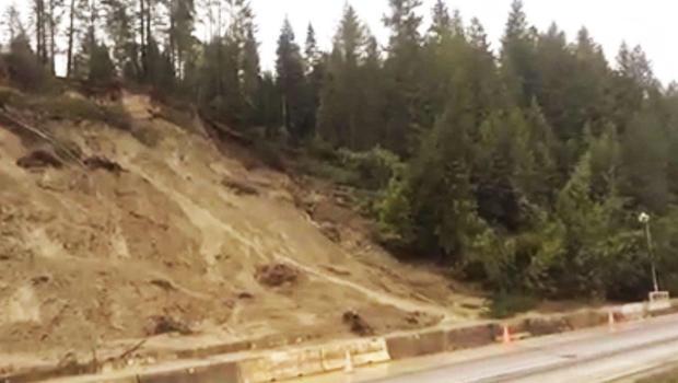 Hillside slides onto Highway 95