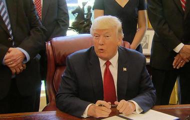 "Trump downplays 100-day milestone as ""ridiculous standard"""