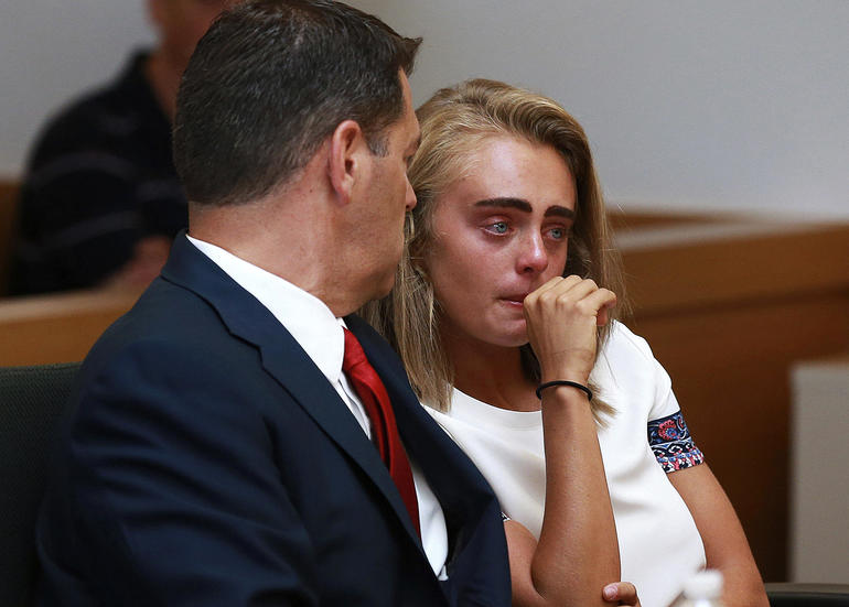 Michelle Carter awaits her sentencing in a courtroom in Taunton, Mass., Aug. 3, 2017, for involuntary manslaughter for encouraging Conrad Roy III to kill himself in July 2014.