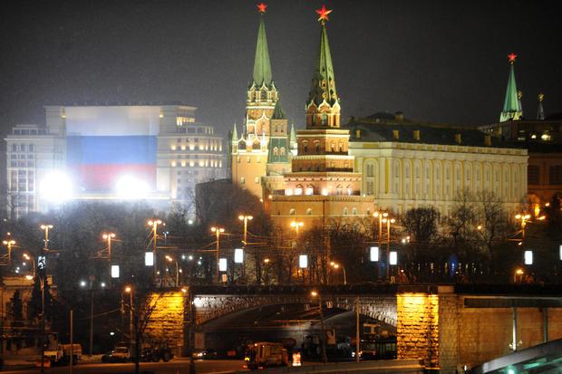 在facad上可以看到巨大的俄罗斯国旗