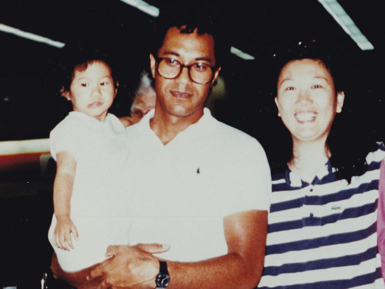 Joann Vaega and her parents