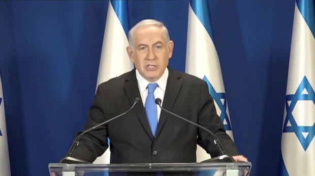 Israeli Prime Minister Benjamin Netanyahu delivers a statement in Jerusalem, in this picture grab